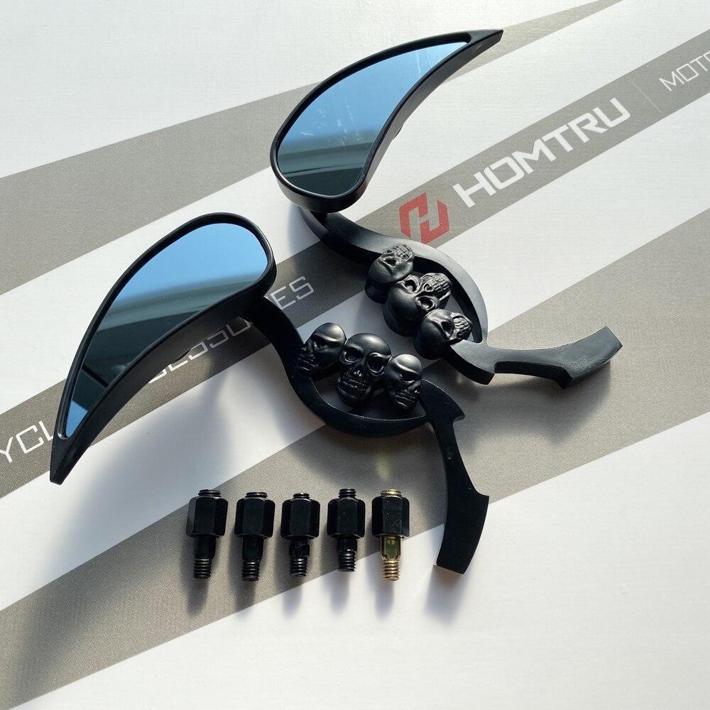 ¡Envío gratis! ¡Nuevo! Espejos retrovisores de calavera en forma de lágrima negra para motocicleta Harley Cruiser Chopper