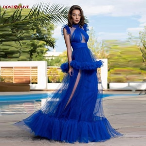 Royal Blue Evening Dresses 2021 Long Sleeveless High Neck Transparent Sexy Tiered Skirt A Line Tulle Prom Gowms Formal Party