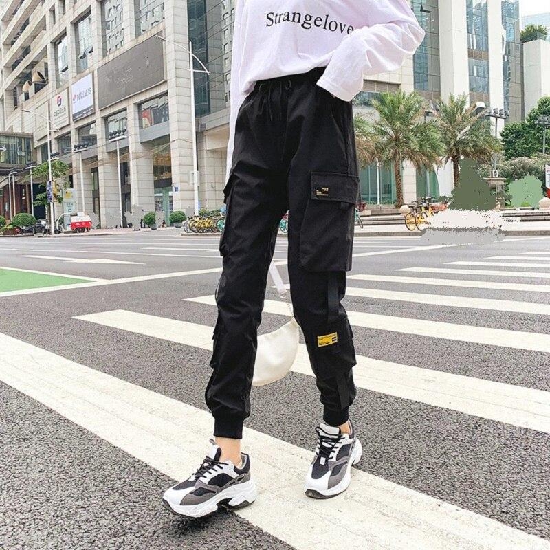 Брюки в Корейском стиле женские уличные черные брюки-Карго спортивные брюки с эластичной резинкой на талии спортивные брюки для бега на лет...