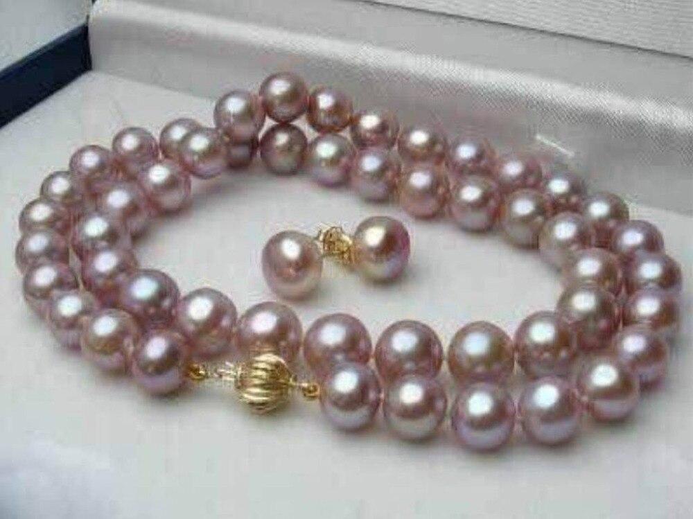 AAA 7-8MM púrpura Natural Akoya collar de perlas cultivadas 18 + conjunto de pendientes AAAAAAAAA envío gratis