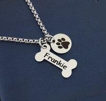 Nom collier chien patte collier personnalisé chien collier patte imprimer chien os initiale charme Pet bijoux pour cadeau YLQ0388