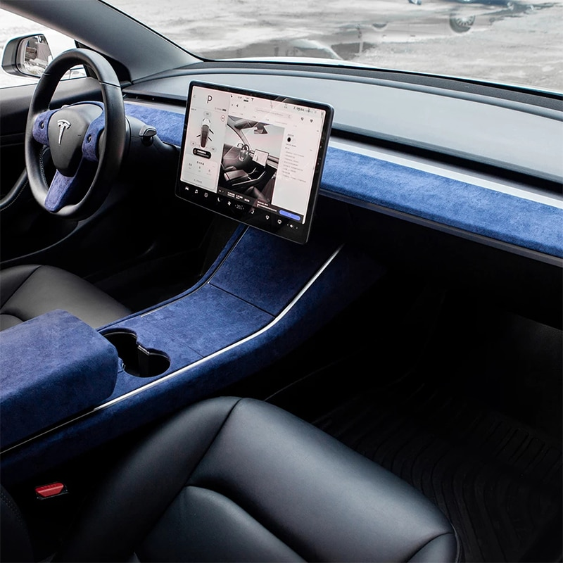 For Tesla Model 3 Accessories Turn Fur Central Control Decorative Strip Model Y Central Control Panel ABS  2020 enlarge