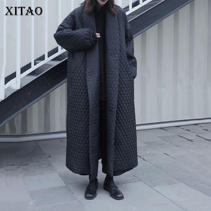 XITAO Small cotton elegant parkas fashion new women pocket goddess fan casual style 2020 winter small fresh parkas ZY1557
