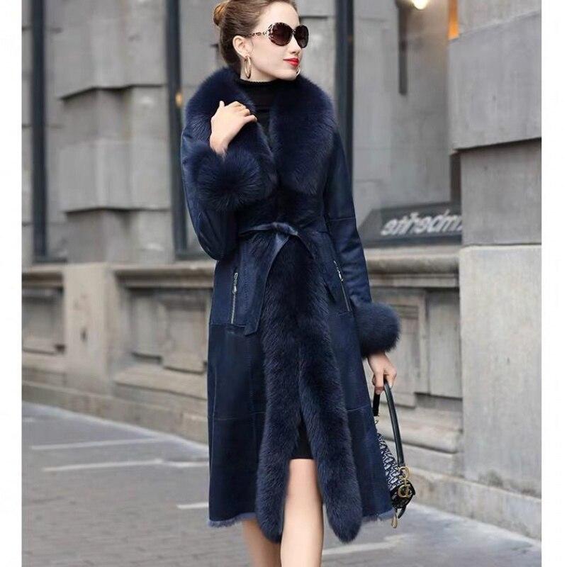 معطف شتوي طويل من فرو الثعلب الحقيقي ، للنساء ، مع حزام ، مصنوع من جلد الغنم ، كامل