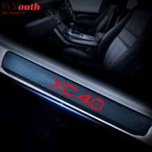 4D Carbon Fiber Vinyl Sticker For VOLVO XC40 XC 40 Car Door Sill Welcome Pedal Stickers Door Entry G