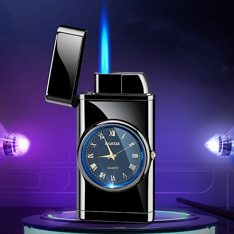 Watch Lighter Straight Into Inflatable Windproof Creative Electronic Watch Lighter Smoking Set Turbo Multifunction Lighter enlarge