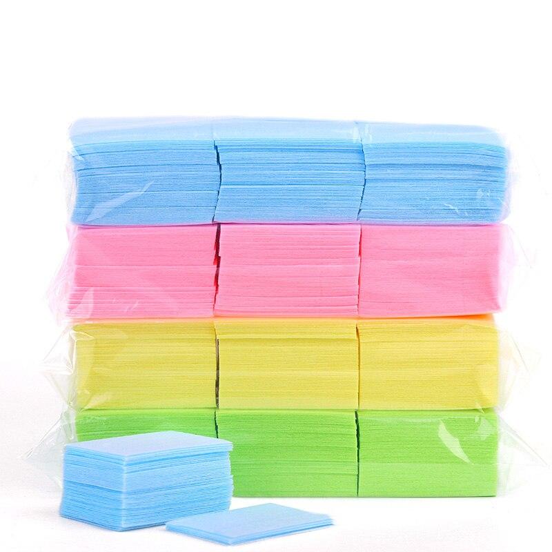 600 unids/lote removedor de esmalte de uñas toallitas de baño manicura Gel sin pelusas toallitas pedicura servilletas de algodón duro accesorio para decoración de uñas nuevo