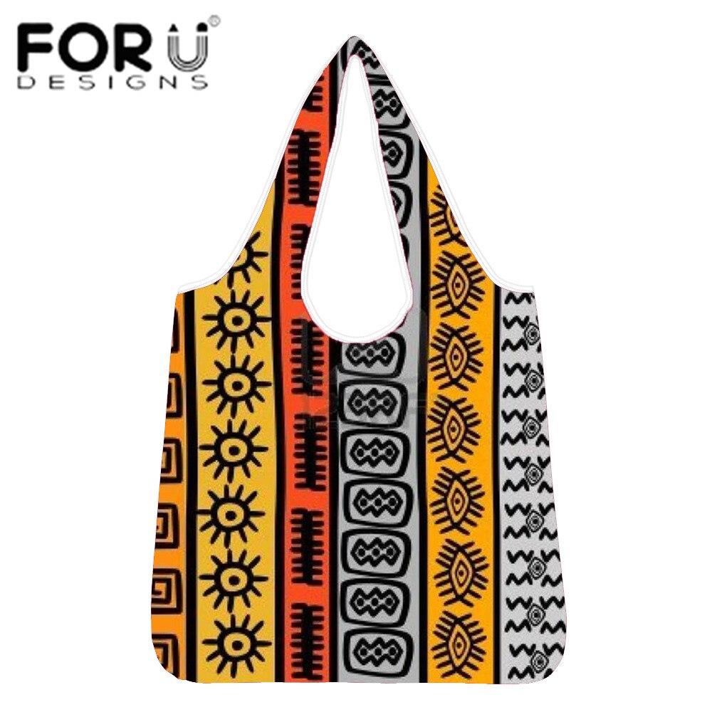 FORUDESIGNS bolso de compras Afro Tribal nativo de señora plegable Oxford tela reutilizable fruta vegetales bolso para abarrotes bolsa ecológica