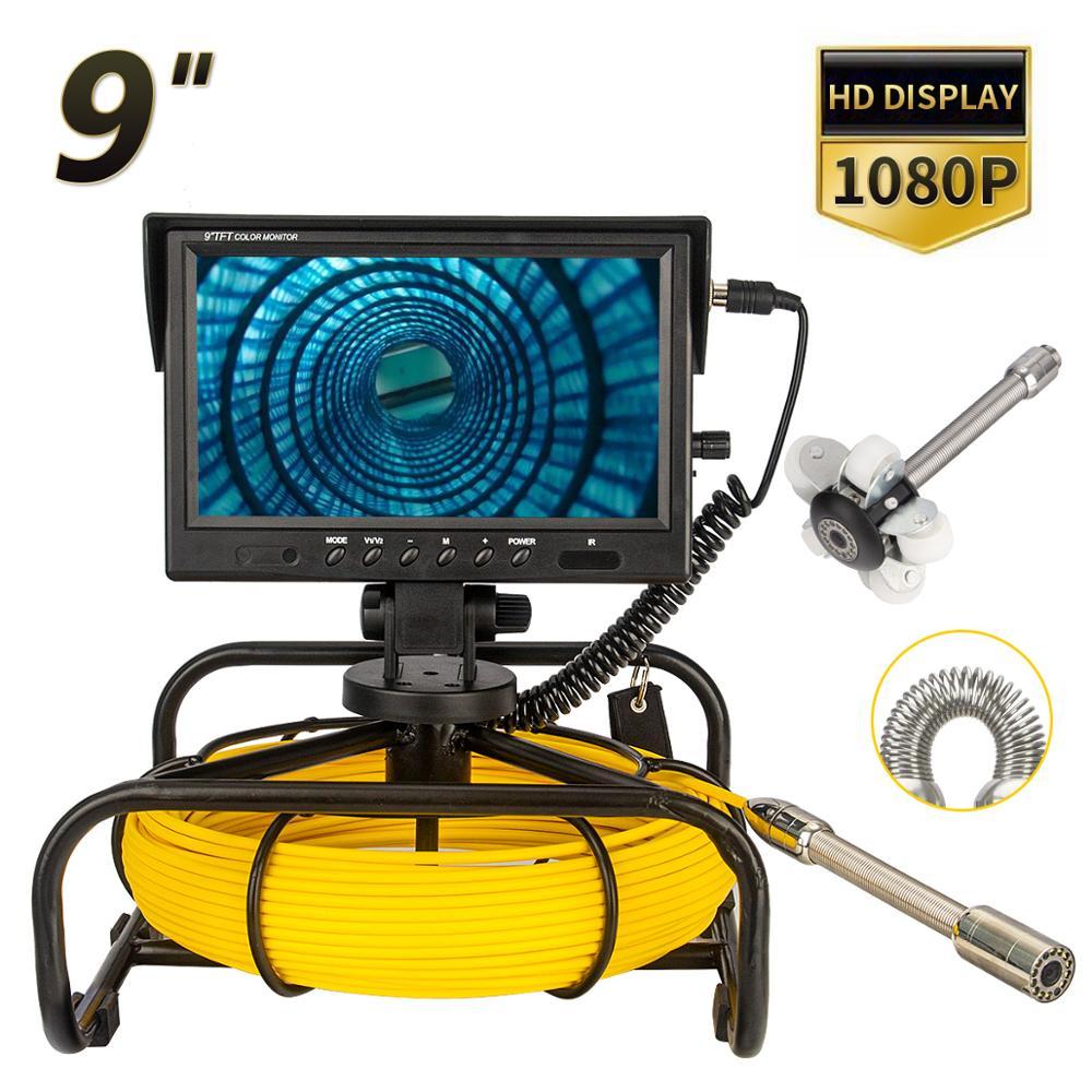 Внутритрубный инспекционный прибор Камера 9 дюймов монитор 10/20 Вт, 30 Вт, 50 м, SYANSPAN канализационные Камера с WI-FI, 23 мм Камера Слива промышленный эндоскоп IP68