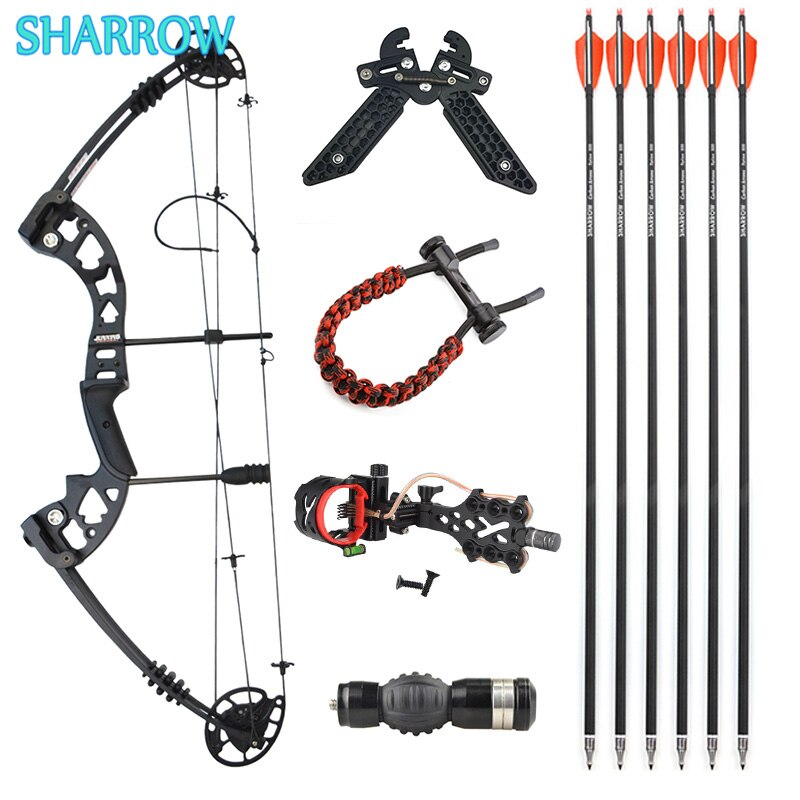 30-55lbs Compound Bow Set Alloy Composite Bow Adjustable with 6 Carbon Arrows for Outdoor Archery Shooting Hunting Accessories