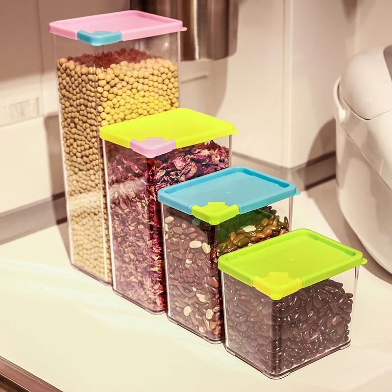 Latas selladas de plástico para cocina, caja de almacenamiento de alimentos con tapa, recipiente para mantener frescos, contenedores, nevera, caja de almacenamiento para cereales