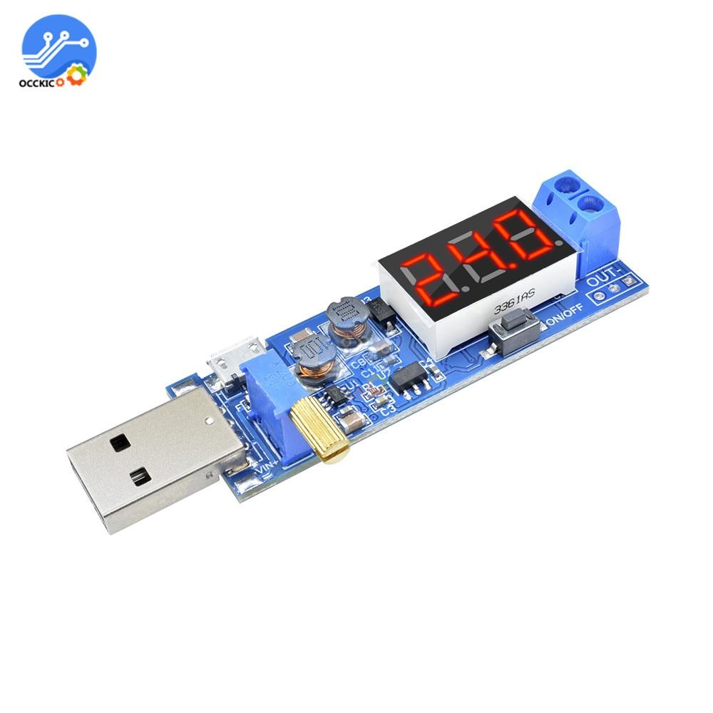 USB Charger Module DC-DC 5V to 1.2V-24V Adjustable Converter Power Supply Battery Charging Board with LED Display