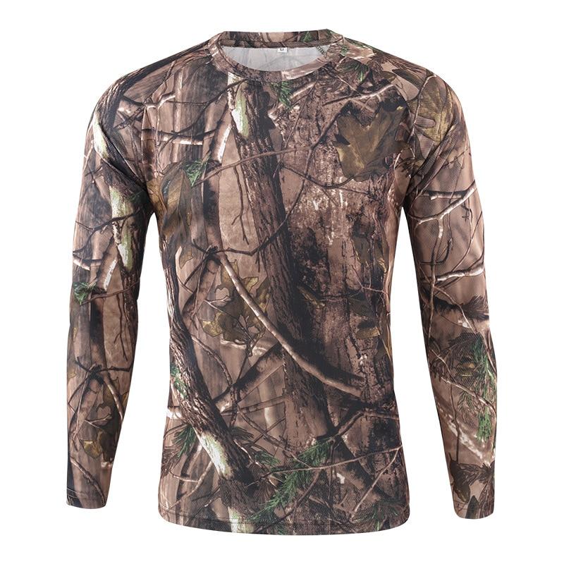 Senderismo Camping camisetas hombres ejército militar caza camuflaje Camiseta de manga larga de secado rápido deportes camiseta