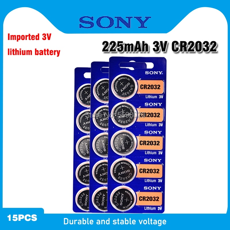 15PCS SONY Original CR2032 Button Cell Battery 3V Lithium Batteries CR 2032 for Watch Remote Toy Computer Calculator Control