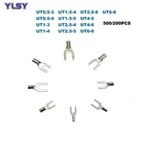 500200pcs non insulated spade terminal electric fork naked crimp terminales ut0 5 3ut6 8 wire cable connector 0 56mm2