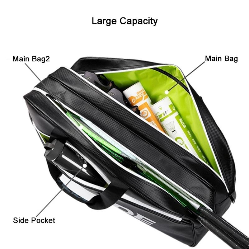 Спортивная сумка из искусственной кожи для бадминтона, водонепроницаемая сумка на плечо для теннисных ракеток, модные мужские и женские су...