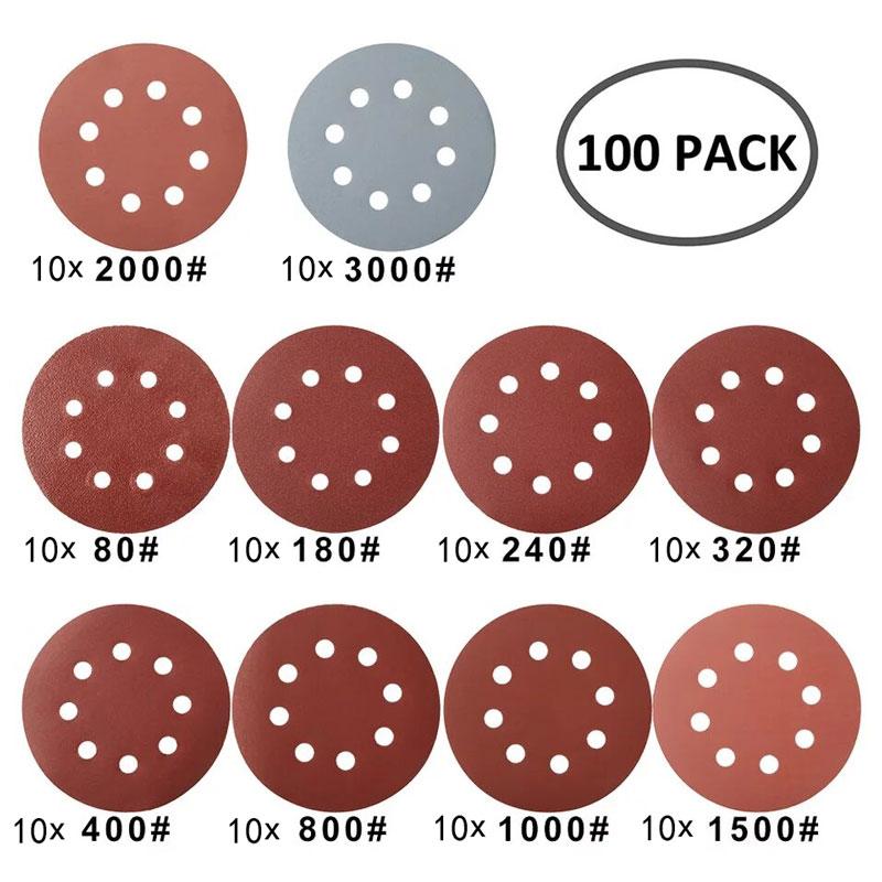 50/100 Uds 125mm discos de lijado de forma redonda papel de lija - Herramientas abrasivas - foto 2