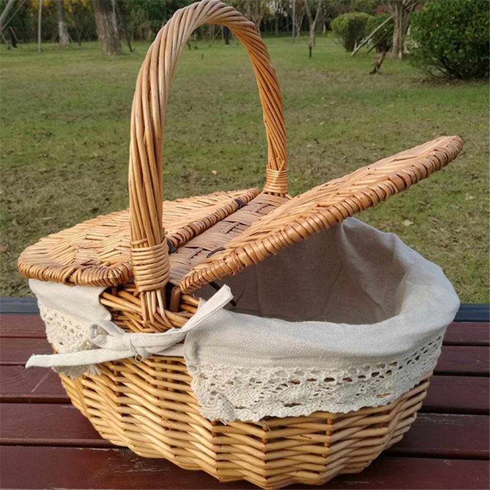 Picnic Basket Hand Made Wicker Bags Camping Shopping Storage Hamper with Lid Picnic Food Basket Wove