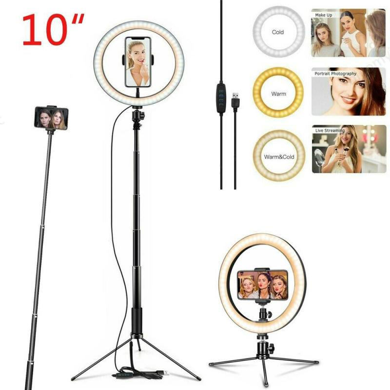 Anillo De Luz Para Selfie De 10 pulgadas con soporte Para trípode soporte Para teléfono móvil, Luz De maquillaje LED con 3 modos De Luz Aro De Luz Para Hacer Tik Tok