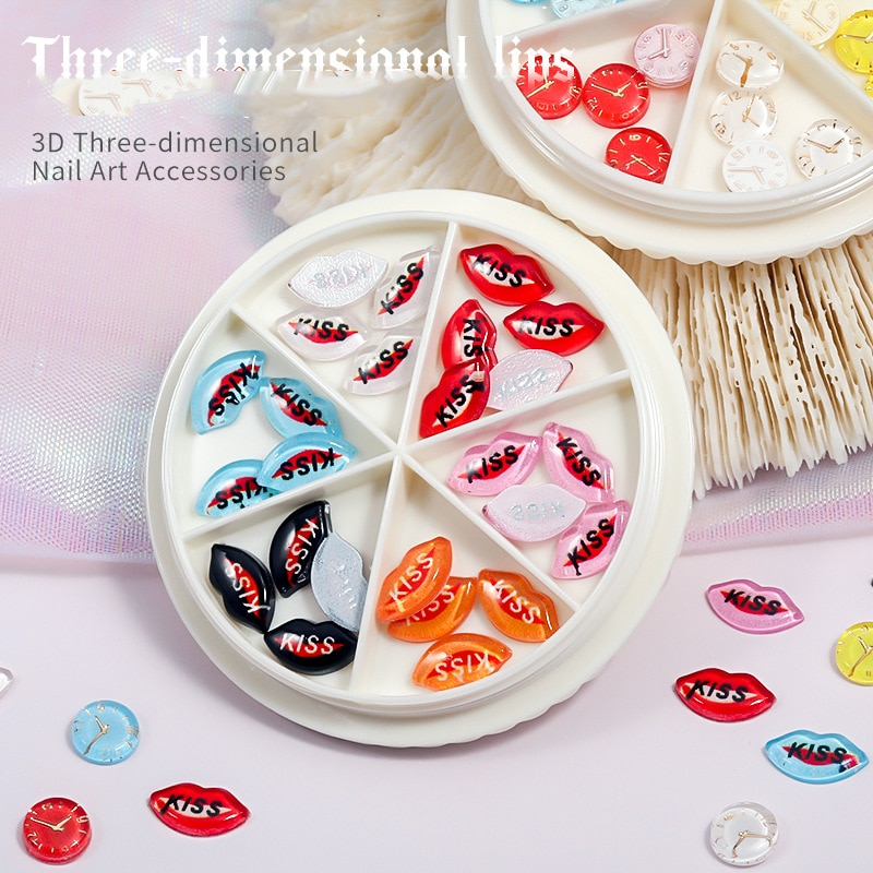 Seis red tocadiscos resina de Color de labios de uñas Sexy beso...