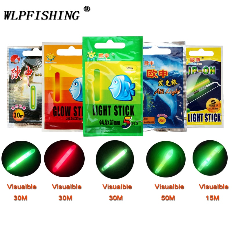 WLPFISHING Lightstick (25 uds o 10 Uds.) 5 bolsas/lote, flotador de pesca, flotadores eléctricos, palo luminoso brillante fluorescente