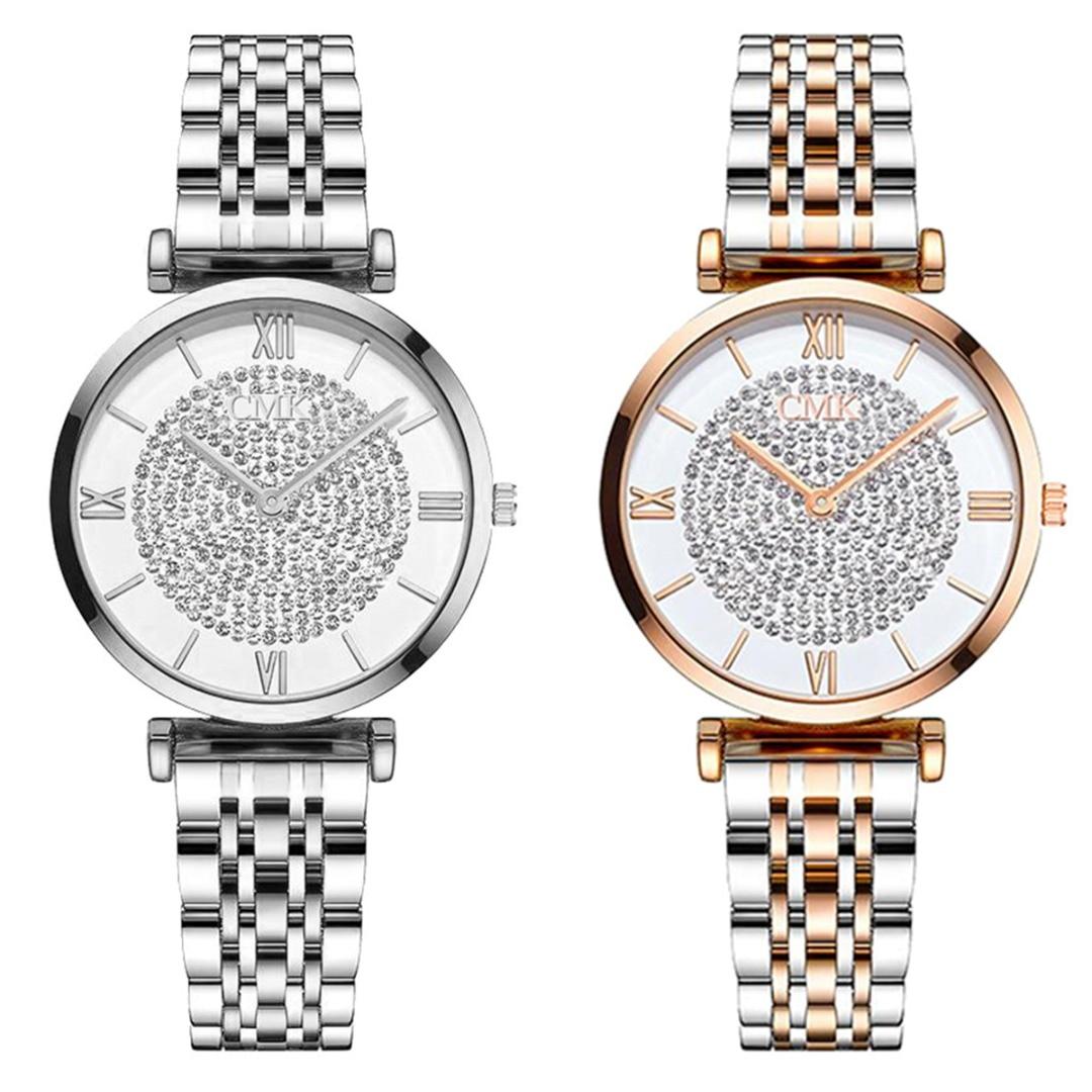 Women Elegant Roman Numerals Quartz Wristwatches Round Dial Alloy Case Watch Rose Gold Silver Lady Fashion Luxury Watches