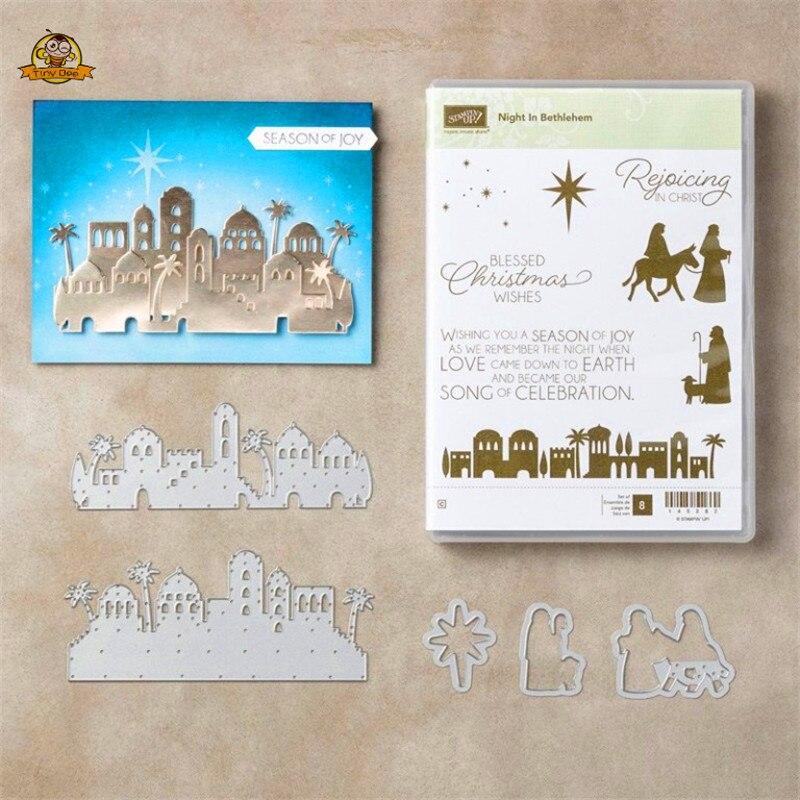 Matrices et timbres de coupe en métal   Vœux de noël de bénédiction pour Scrapbooking, nouvelles découpes de 2019 pour la fabrication de cartes, matrices artisanales de point