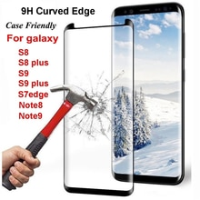9H Curved Edge Tempered Glass Screen Protector for Samsung Galaxy S8 S9 Plus S7 Edge/ Note 8 9 10 Fr