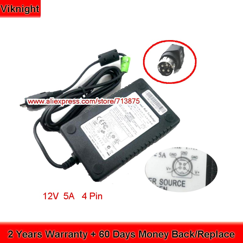 Echt KPL-060F PAA060F Voeding 12V 5A 60W Laptop Ac Adapter Oplader 4pin Voor Hanasis HW3000 HW-3000
