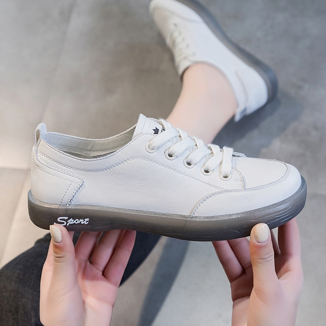 AIYUQI Sneakers Shoes women Genuine Leather Casual All-match White Shoes Women Flat Large Size Non-slip Loafers For Girls 8