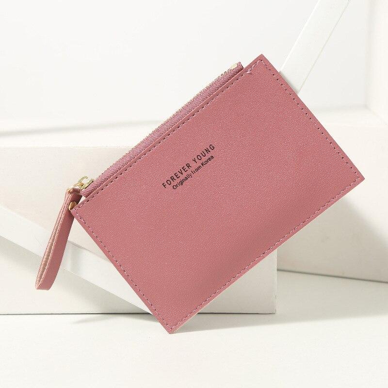 Titular do cartão carteira feminina cor pura mini pequena carteira criativa couro do plutônio zíper senhoras pequena moeda bolsa multi-cartão pacote