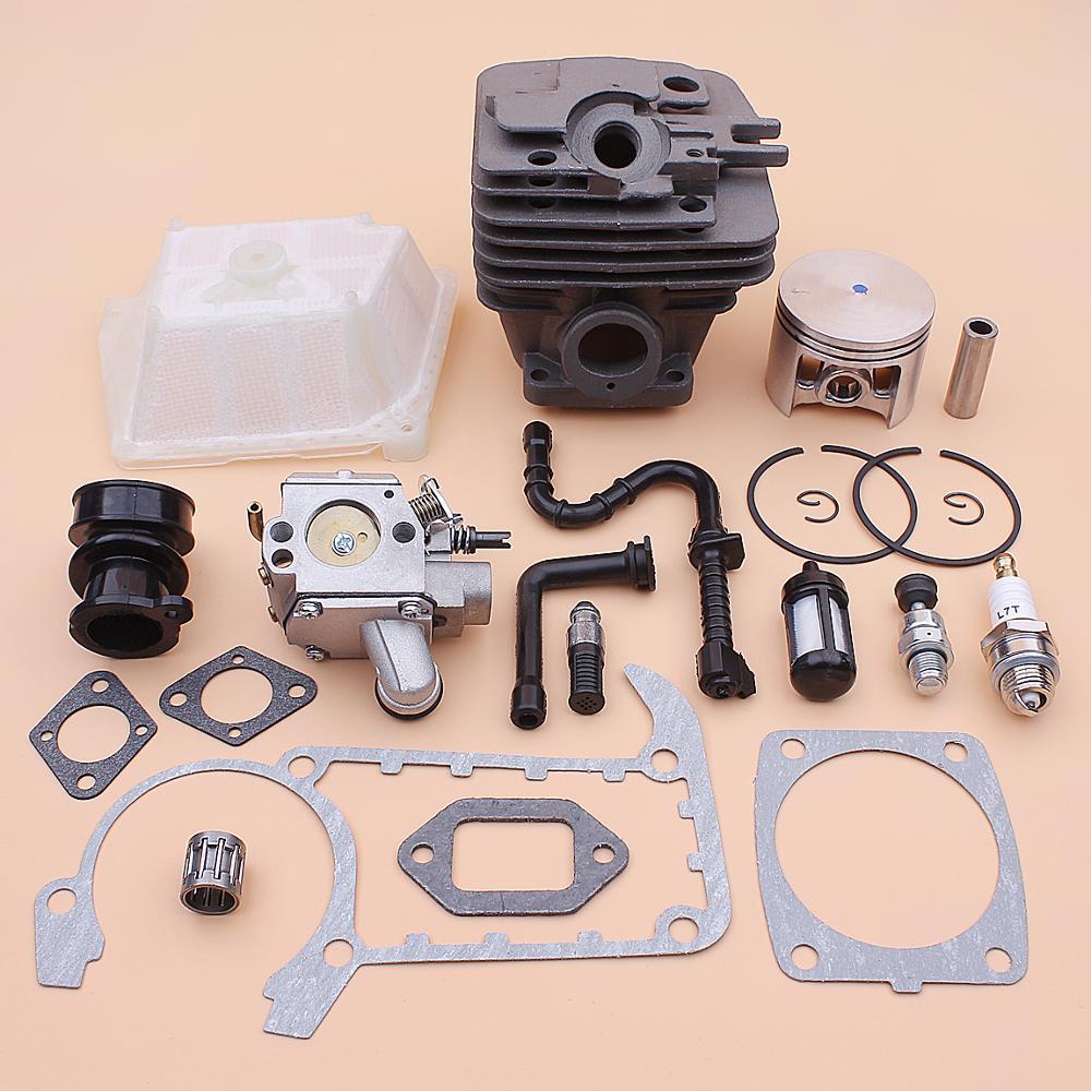 Kit de carburador de pistón de cilindro de 49mm para Stihl MS361 MS 361 filtro de aceite de combustible de aire línea de admisión junta de colector válvula de descompresión