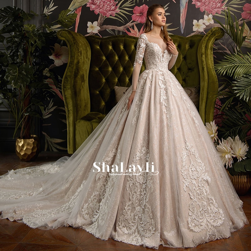 Review Luxury Wedding Dresses Long Sleeve O Neck Lace Applique Glamorous Gowns Shiny Tulle Pearl Robe de mariée Court Train Tailor-Made