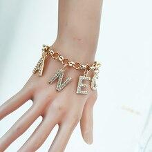 Marque lettre Bracelets breloques déclaration bijoux femmes chaîne couleur or chaîne Bracelets pour femme Pulseras Mujer Pandora Bracelet