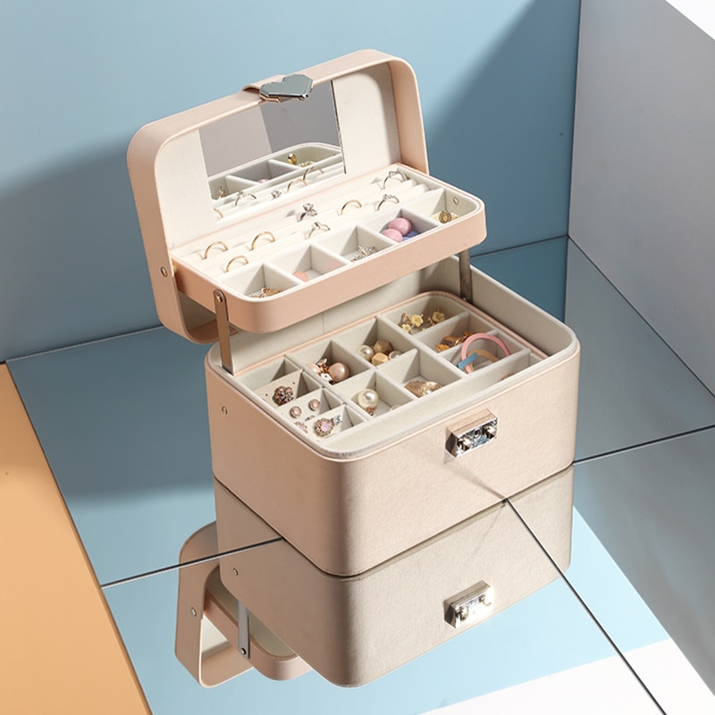 Casegrace 新多層自動革の宝石箱三層収納ボックス女性のためのイヤリングリング化粧品オーガナイザー棺