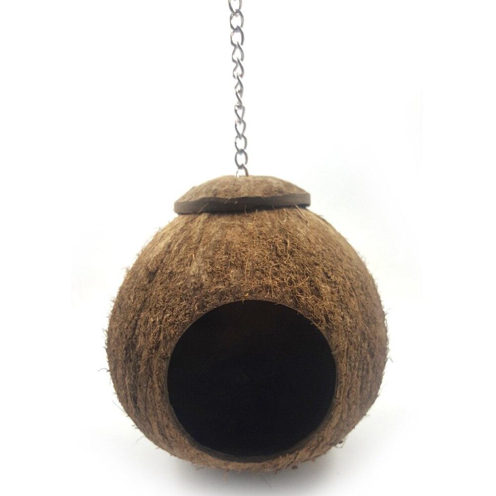 Cage naturelle de maison de nidification doiseau de coquille de noix de coco avec la lanière accrochante pour les petites perruches danimal de compagnie