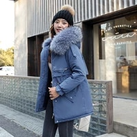 fashion long parkas women winter jacket and coat 2021 new faux fur collar hooded thick warm winter jacket female clothing