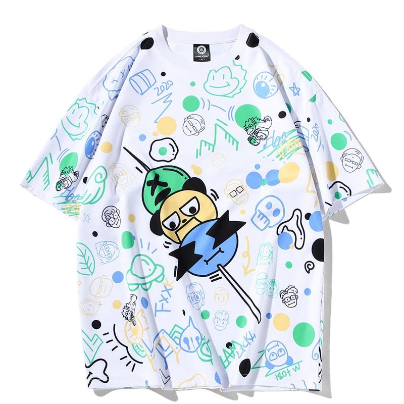 Tide Brand Full Cartoon Avatar Print Round Neck Short Sleeve Men and Women Summer Casual Half Sleeve Loose Large Size T-shirt