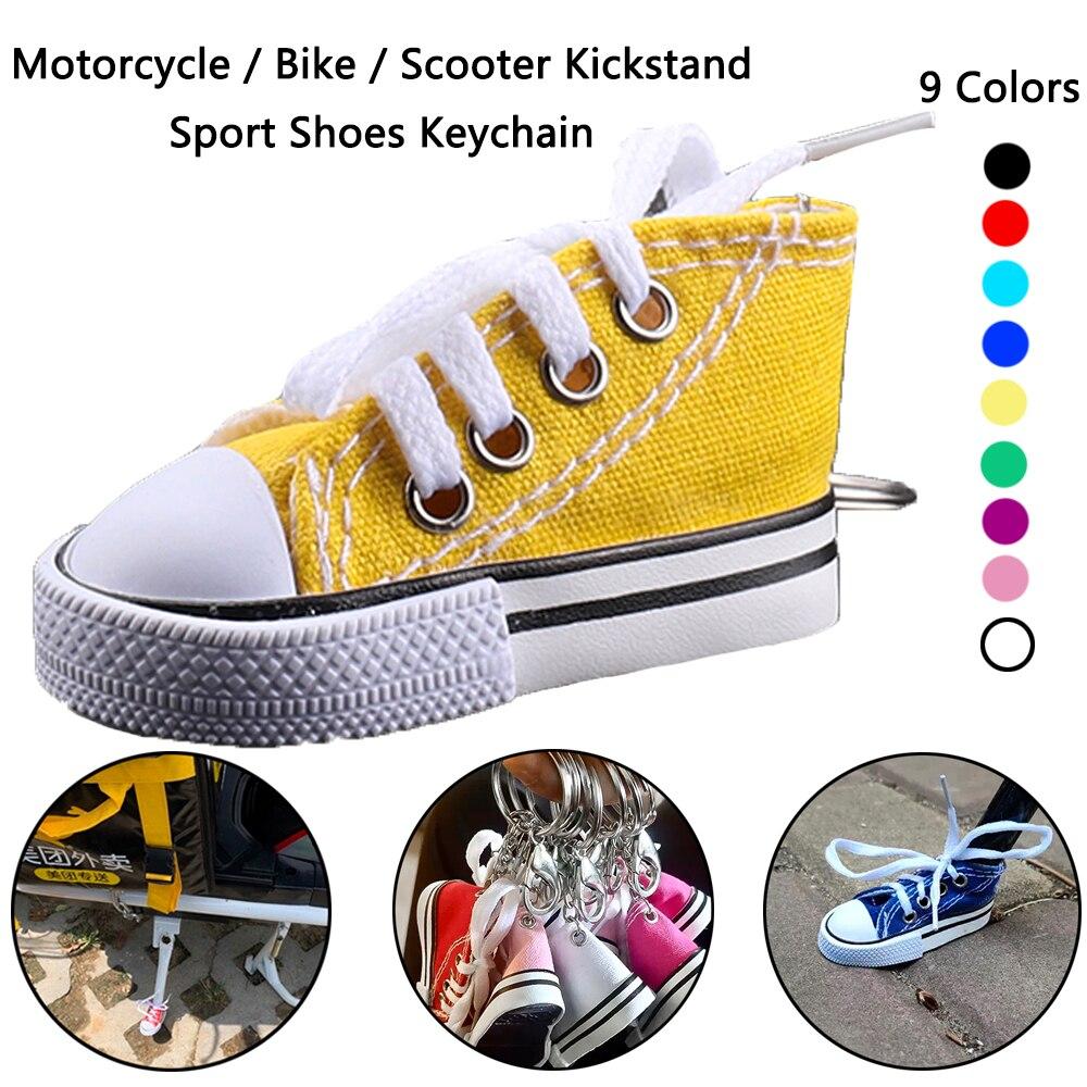 Motorcycle Bike Kickstand Enlarger Canvas Sneaker Tennis Shoe Keychain Sports Shoes Keyring Funny Gi