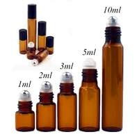20pcslot 1ml 2ml 3ml 5ml 10ml clear amber glass roll on bottle with glassmetal ball thin glass roller essential oil vials
