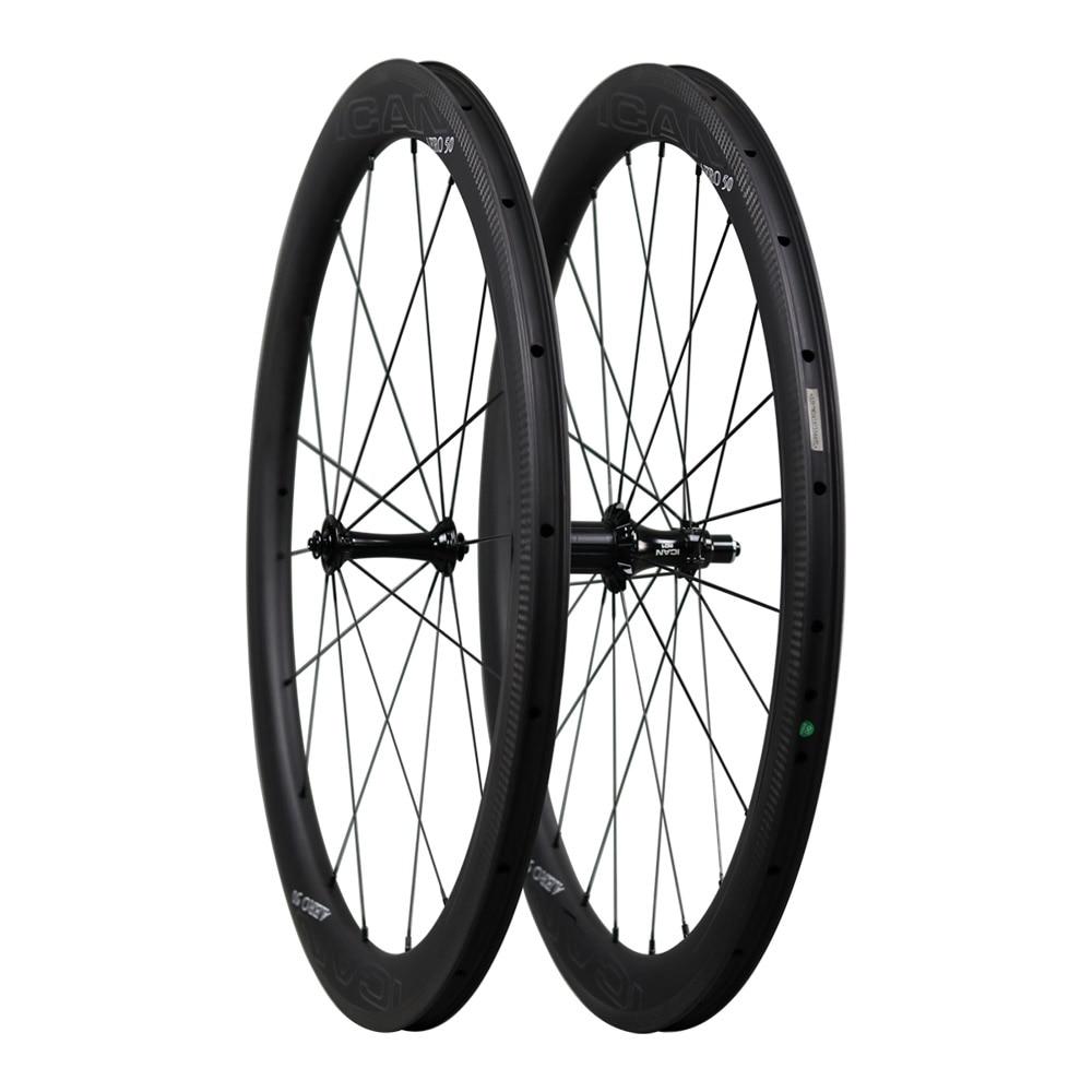 2020 Aero 700C Super ligero juego de ruedas de bicicleta de carretera de carbono T800 y T700 para carretera de bicicleta