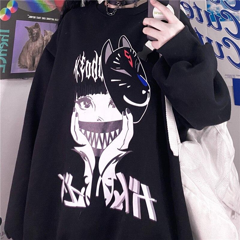 Черный винтажный пуловер с японским аниме мультяшным принтом, футболка, женская одежда, Готическая уличная одежда, свободные топы с принтом...