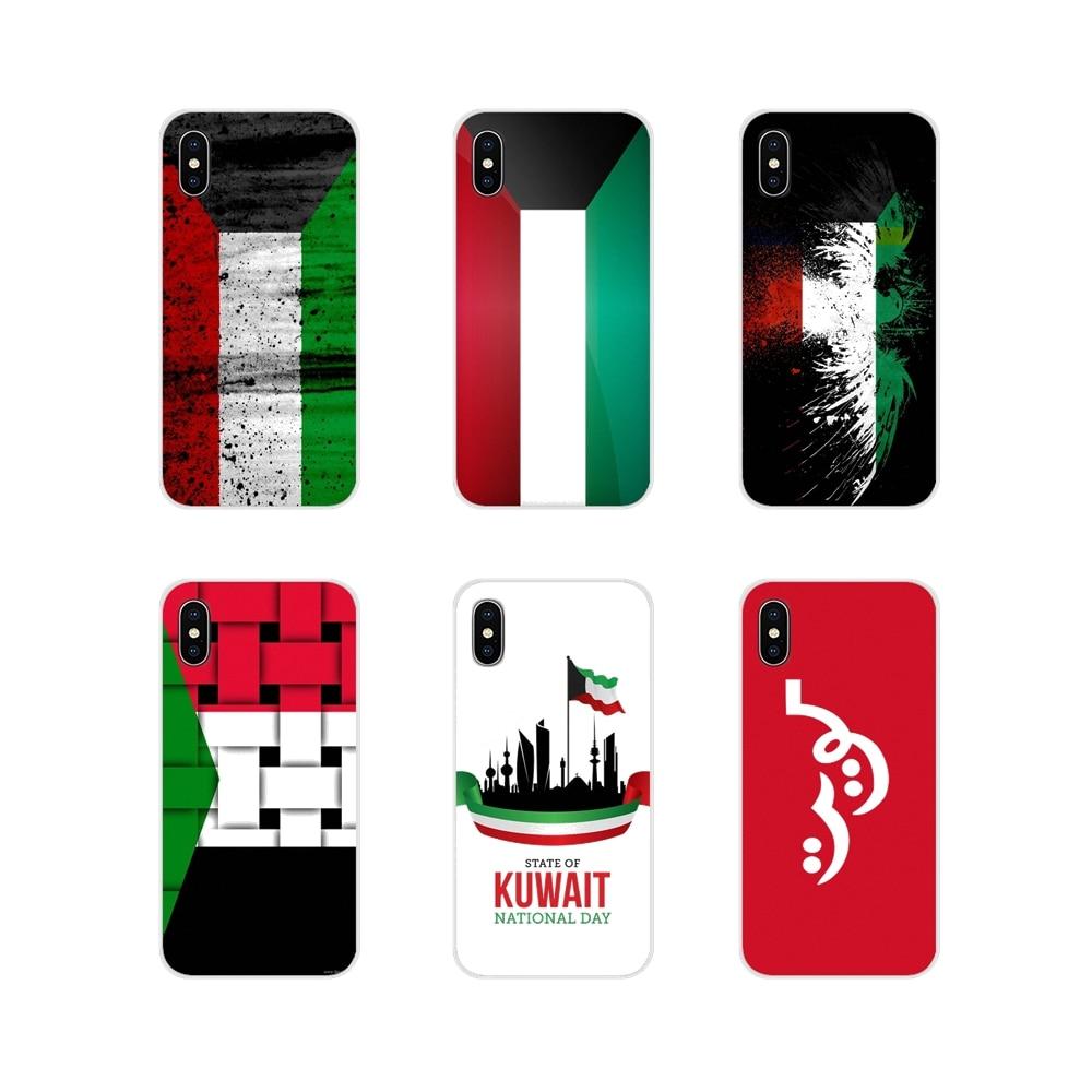 Transparent TPU Abdeckungen Angepasst Kuwait Nationalen Flagge Für Apple iPhone X XR XS MAX 4 4S 5 5S 5C SE 6 6S 7 8 Plus ipod touch 5 6