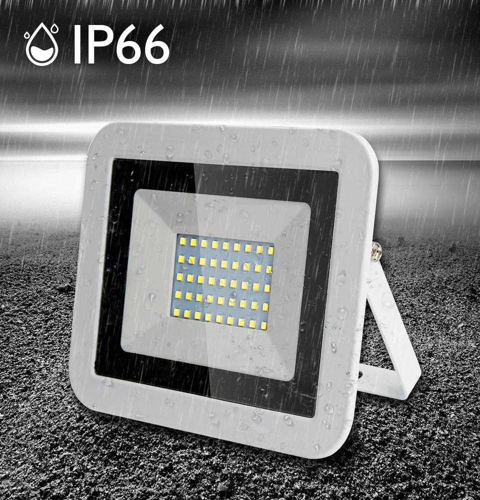 White shell spotlight Ultra Thin Led Flood Light Spotlight Outdoor AC220V IP65 Path Garden Street Ga