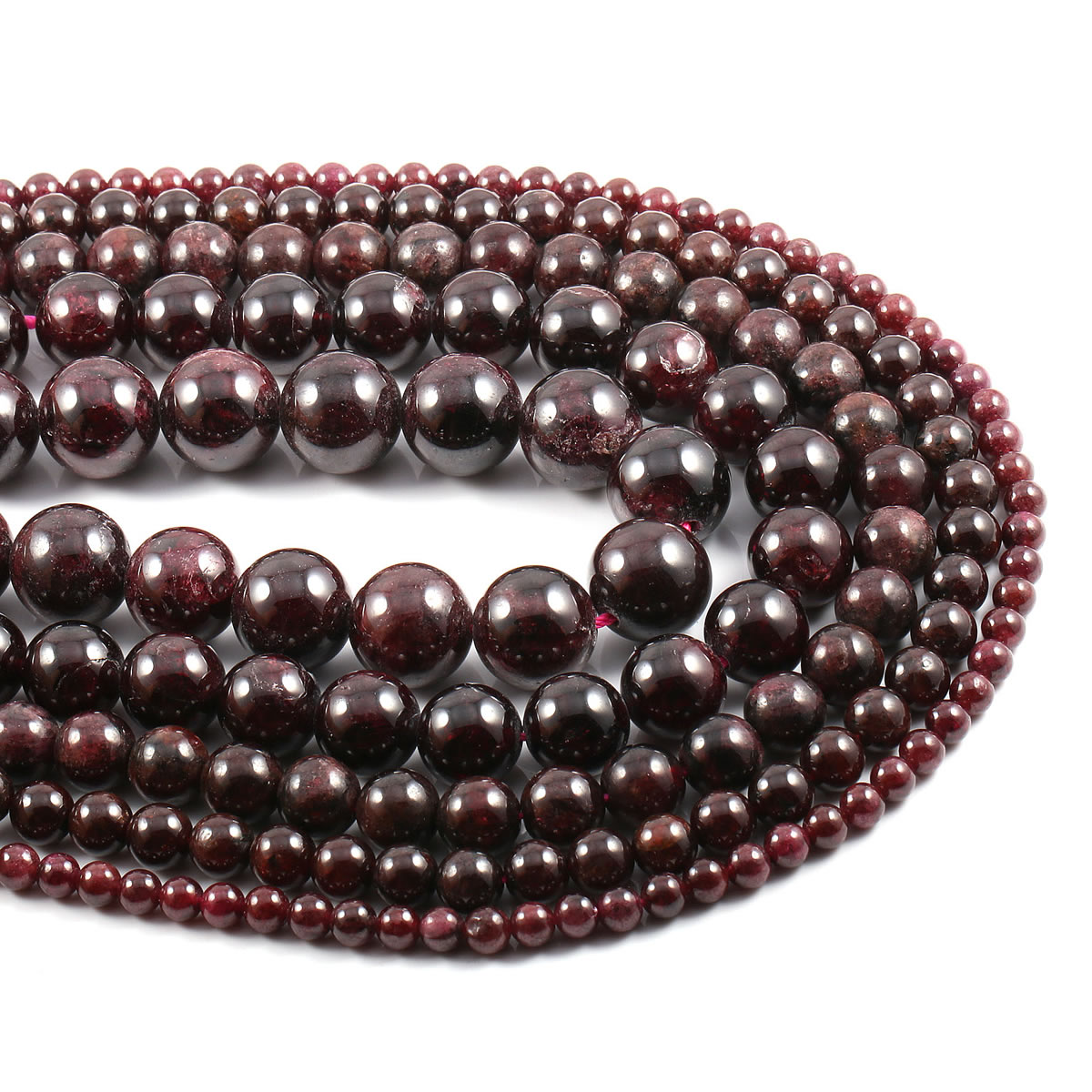 Natural Stone Dark Red Garnet Beads Round Loose Beads For Jewelry Making DIY Bracelet Necklace Accessories Strand 15''  - buy with discount