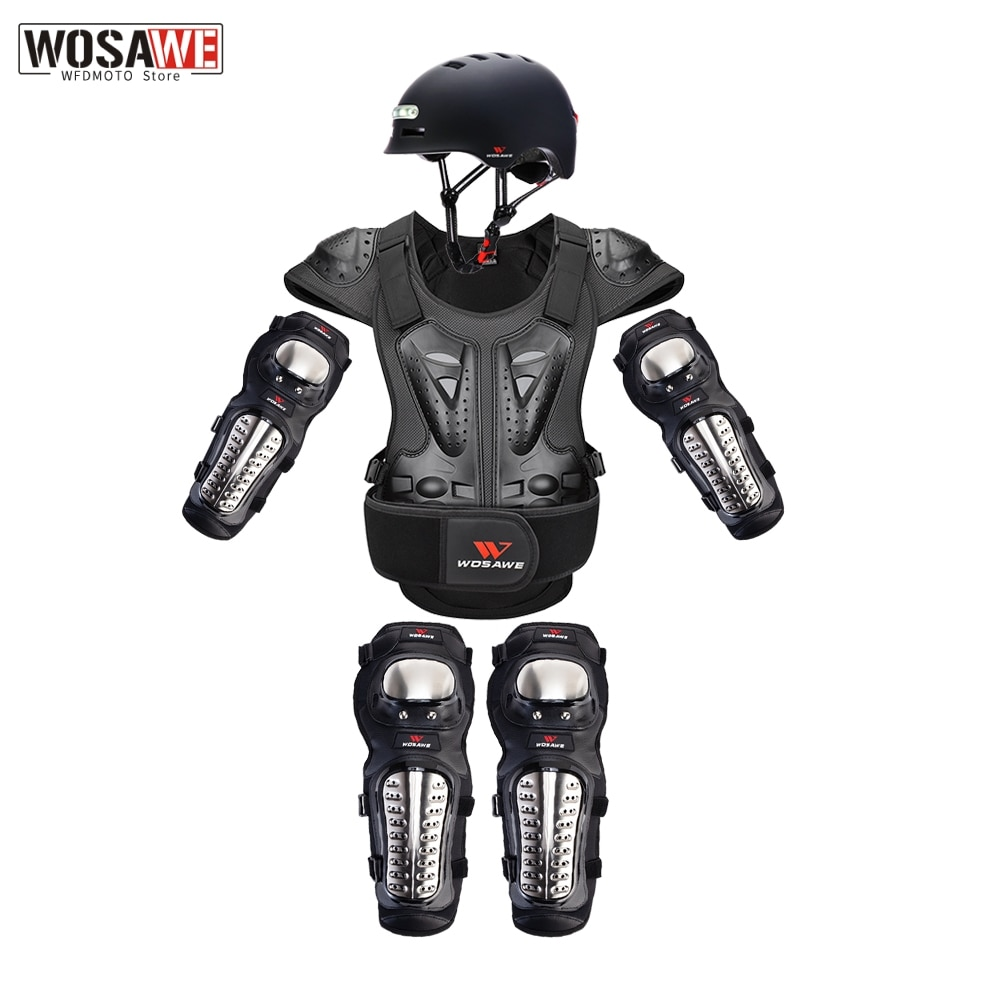 WOSAWE Motorcycle Protection Chest Back Protector Moto Armor Guard Racing Motocross Body Protective Gear Knee and Elbow Guard