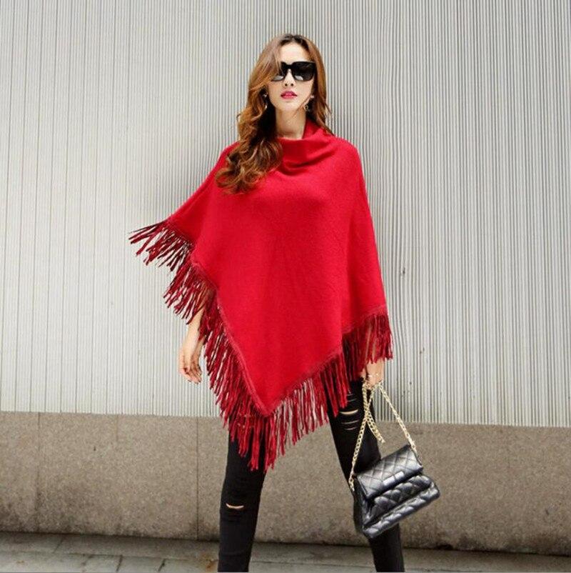 Suéter tejido para primavera y otoño para mujer, Poncho, abrigo con cuello redondo, Jersey elegante liso, con dobladillo Irregular, borla, capa suelta, capa, jersey para mujer