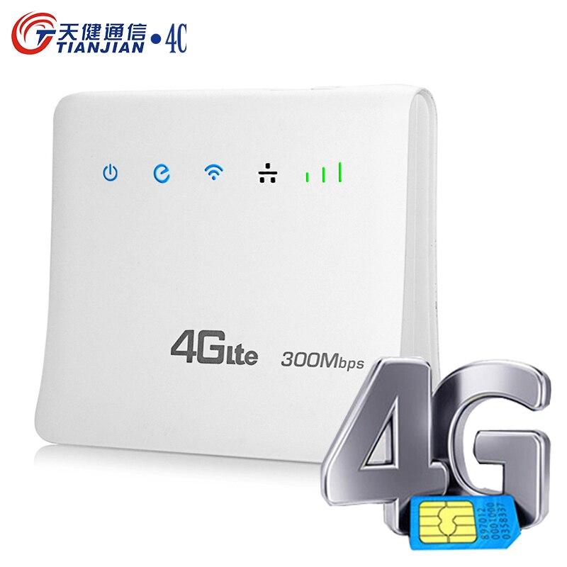إفتح 4G LTE موزع إنترنت واي فاي 300Mbps واي فاي لاسلكي مودم موبايل هوت سبوت RJ45 برودباند شبكة LAN/WAN ميناء دونغل + سيم فتحة للبطاقات