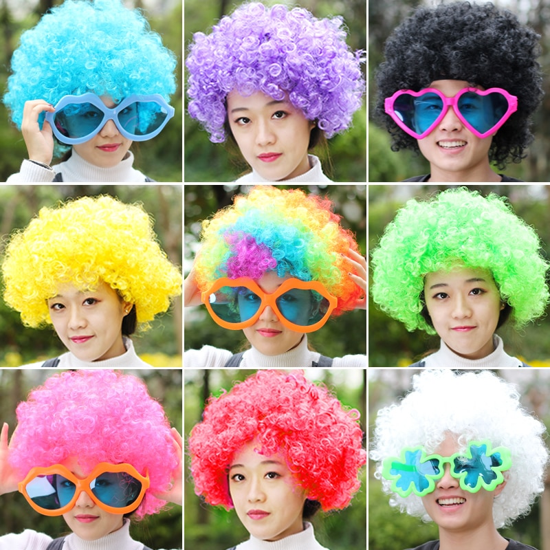 Free shipping Funny clown wig caps Fans explosive head wig dance bar wedding party dress performance props wig Funny fluffy