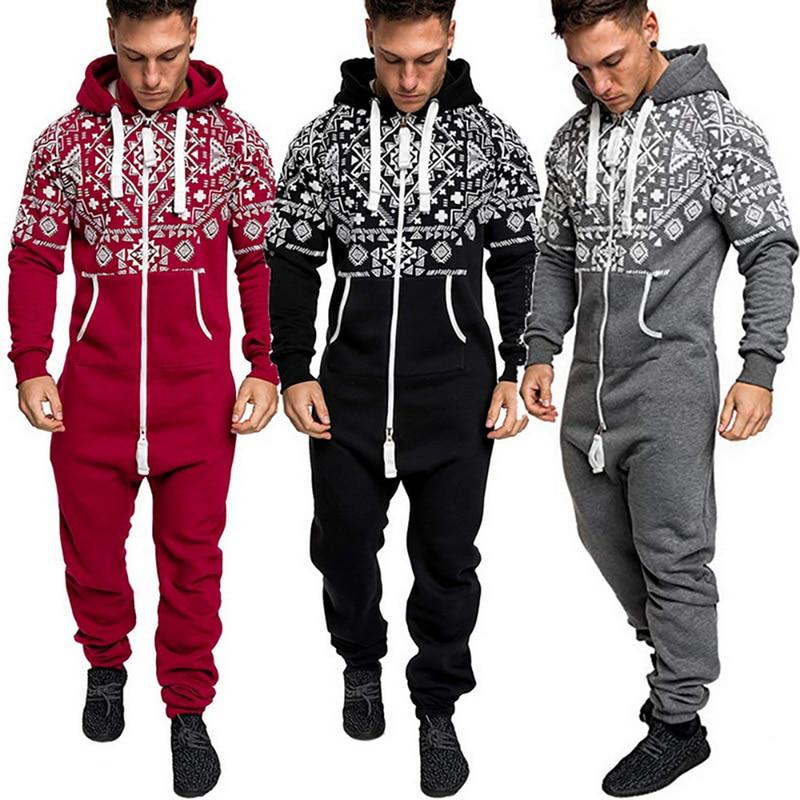 Pijama de inverno masculino macacão combinasion outono homewear casual com capuz com zíper estampado macacão pijamas hombre